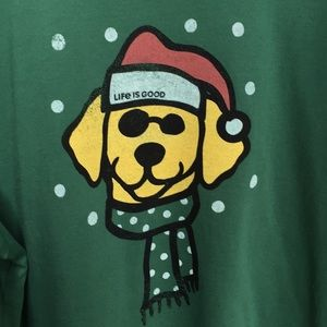 Life Is Good long sleeve T-shirt medium Santa dog